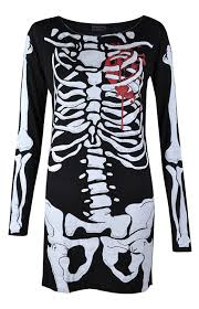 Halloween Skeleton Bodysuit Womens Ladies Halloween Skeleton Skull Bone Red Blood Heart Girls