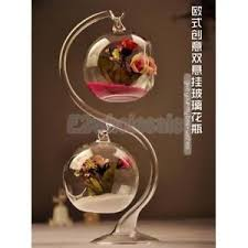 Wine Glass Flower Vase Hanging Clear Glass Flowers Pot Vase Support Stand 2sets For