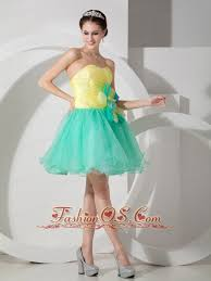 customize apple green and yellow cocktail dress a line sweetheart