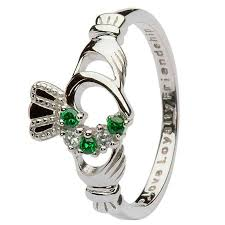 claddagh ring open heart claddagh ring w green crystals real