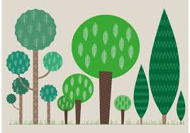 set of flat tree vectors free vector stock