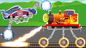 monster truck cartoon videos disney lightning mcqueen train vs captain america monster truck