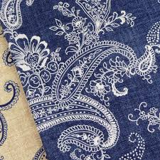 Shabby Chic Upholstery Fabric by Michael Miller Pristine Paisley Indigo And White Fabric Vintage