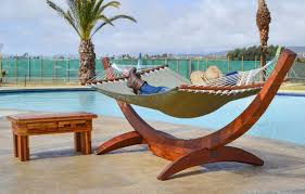 furniture homemade hammock stands with wooden material and lake