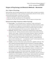 psy103 origins of psychology and research methods worksheet
