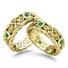 celtic gold rings images His hers wedding band in 14k gold celtic emerald wedding ring jpg