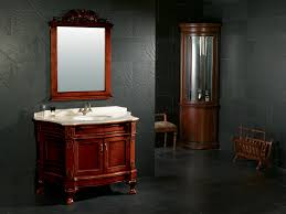solid wood bathroom cabinet with mirror