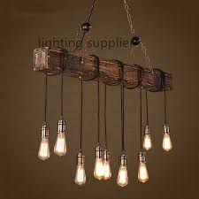 wooden dining room light fixtures loft style creative wooden droplight edison vintage pendant light