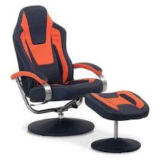 Chair W Ottoman 1c1 7001 2pc Blue And Orange Swivel Chair W Ottoman Vf7002 01