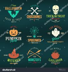 halloween background black spider web vintage typography halloween vector color badges stock vector