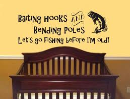 Baby Decals For Walls Baiting Hooks Bending Poles Lets Go Fishing Wall Decal Boy