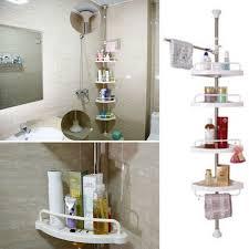 Telescopic Bathroom Shelves 4 Tier Adjustable Telescopic Bathroom Corner Shower Shelf Rack