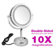 small magnifier with light 10x magnifier makeup mirror led light stand double side 8 5inch