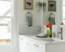 backsplash ideas for bathrooms bathroom backsplash ideas silver metal and glass tile ideas bathroom