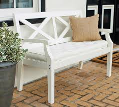 hampstead painted porch bench with back white pottery barn