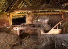 timber frame and brick hay barn interior warwickshire