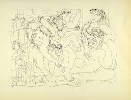 1956 print pablo picasso female sculptor model bacchanal