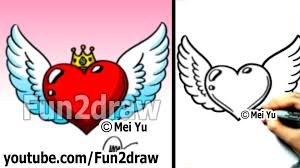 how to draw a heart with wings and crown easy drawing tutorial