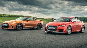 nissan gtr vs nissan gt r vs audi tt rs top gear drag races