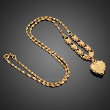 gold chain necklace woman images Fashion women 18k yellow gold plated jewelry heart pendant long jpg