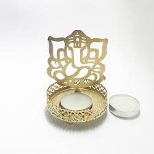 shadow ganesh ji metal tea light holder we deliver happiness