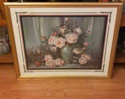 vintage home interiors homco gold framed large pink roses flower