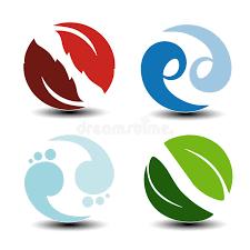 symbols air water earth nature circular icons