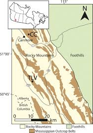 Rocky Mountain Range Map Swell Dominated Carbonates On A Mississippian Ramp In The Canadian