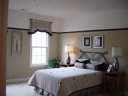 guest bedroom ideas brown horizontal curtain glass window grey
