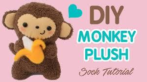 diy sock plush tutorial cute monkey holding a banana youtube