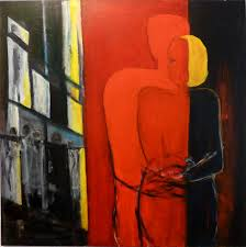 paintings minimalistic people in black red white yellow red