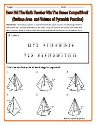 surface area and volume pyramids riddle worksheet by secondary
