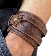 leather jewelry cuff bracelet images Brown leather men 39 s cuff bracelet jewelry jpg