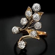 diamond flower rings images Antique art nouveau diamond flower ring antique jewelry jpg
