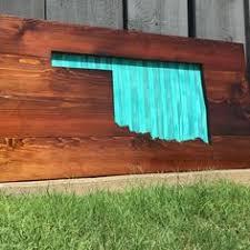 oklahoma wood oklahoma state flag wood painted state shape by 3nailsdesigns