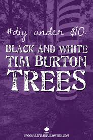 black trees for halloween diy under 10 black and white tim burton trees spooky little