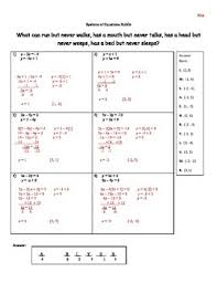 of equations by substitution self checking riddle worksheet