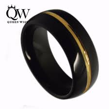 domed ring queenwish genuine black tungsten domed ring gold center grooved