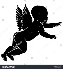 royalty free baby silhouette with wings 587333393 stock