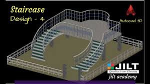autocad 3d staircase design in dual curved staircase with