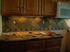 Slate Backsplash In Kitchen by Rusty Brown Slate Mosaic Backsplash Tile Kitchen Cabinets