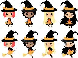 halloween background with silhouettes of children trick or treating in halloween costume chibi witch halloween vector clip art cute girls with halloween