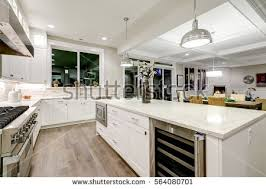 gourmet kitchen island gourmet kitchen features white shaker cabinets stock photo 564080701