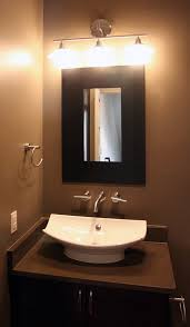 Black Mirror For Bathroom Bathroom Minimalist Guest Bathroom With Sink Vessel And Black