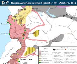 Syria Battle Map by Isw Blog Russian Airstrikes In Syria September 30 October 1