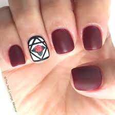 beauty and the beast rose inspired matte nail art design nail