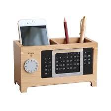 office pen holder with calendar wooden pen pot desk week organizer pencil stand korean fantastic square