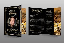 funeral program design classic black gold funeral program brochure templates