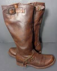 womens biker boots size 11 frye 77048 campus 14g shearling brown leather boots s size