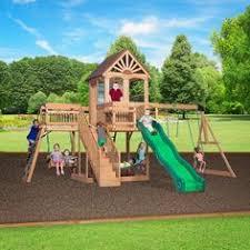 Backyard Discovery Montpelier Cedar Swing Set New Giant Wooden Swingset Kids Playground Swing Set Slide